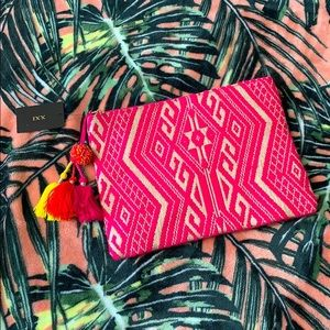 NEON Pink Pom Tribal Clutch NEW